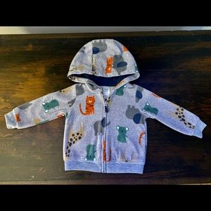 CARTER'S 12 mo. soft animal print hooded jacket